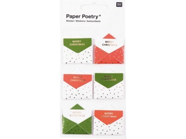 Aufkleber PaperPoetry 3D Umschläge rot, grün, weiss, mit  Karte mit ..