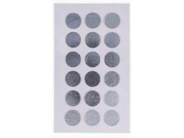 Aufkleber PaperPoetry Punkte 15mm silber metallic, 18 Stk. pro Blatt..