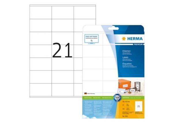 Herma Etiketten Premium Universaletiketten A4 70x42mm