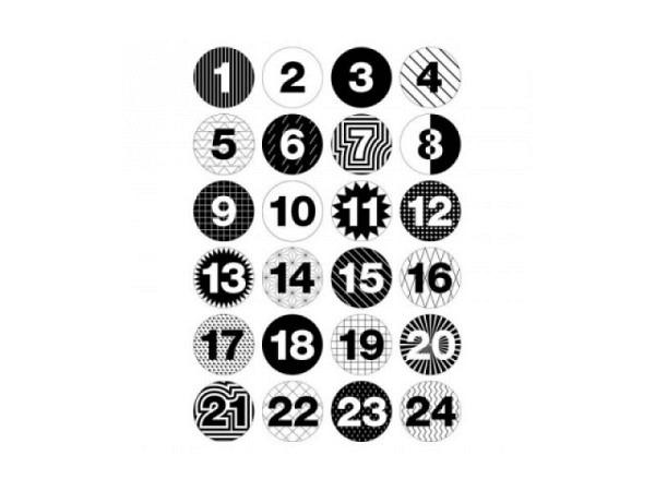 Aufsteckbutton PaperPoetry Adventskalender-Zahlen schwarz-weiss