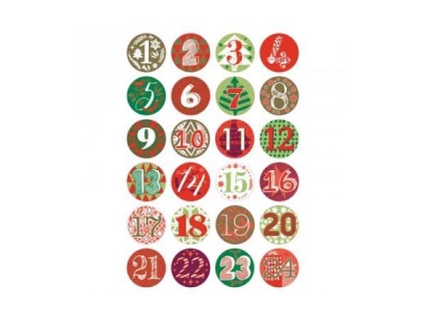 Aufsteckbutton PaperPoetry Adventskalender-Zahlen grün-rot