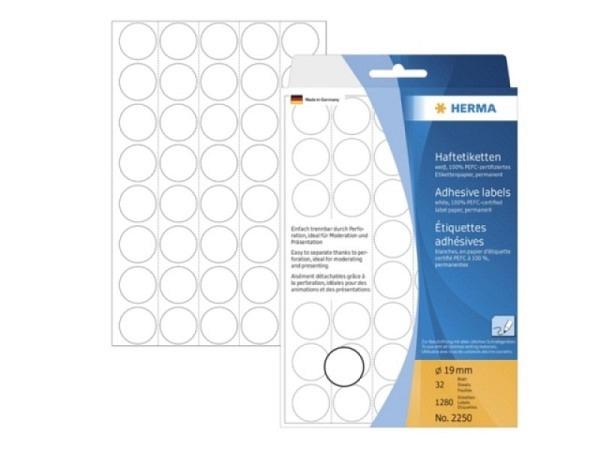 Etiketten Herma Büropackung, permanent, Ø19mm, weiss