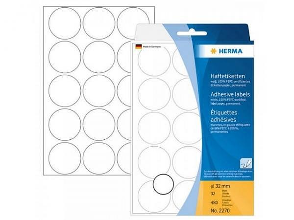 Etiketten Herma Büropackung, permanent, Ø32mm, weiss