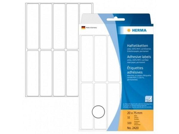 Etiketten Herma Büropackung, permanent, 20x75mm, weiss