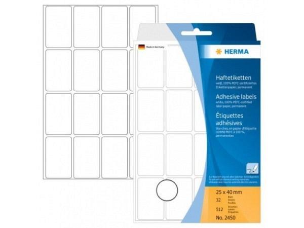 Etiketten Herma Büropackung, permanent, 25x40mm, weiss