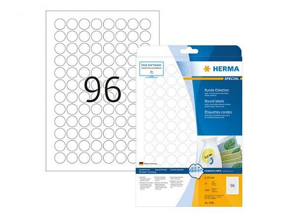 Etiketten Herma Movables Special Sonderformen A4 Ø20mm weiss