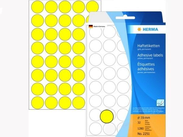 Etiketten Herma Büropackung, Farbpunkte, gelb, Ø19mm
