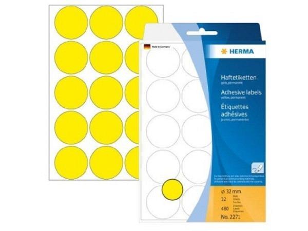 Etiketten Herma Büropackung, Farbpunkte, gelb, Ø32mm