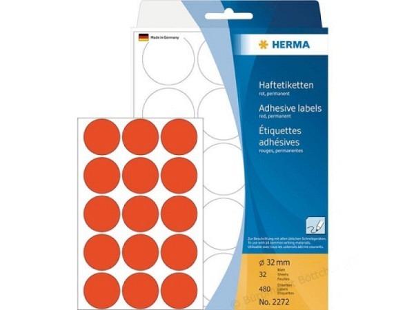 Etiketten Herma Büropackung, Farbpunkte, rot, Ø32mm