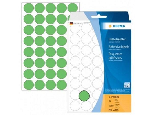 Etiketten Herma Büropackung, Farbpunkte, grün, Ø19mm
