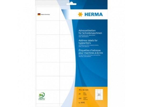 Etiketten Herma Adressetiketten A4, permanent, 42x70mm weiss