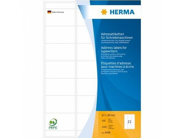 Etiketten Herma Adressetikette A4 Permanent, 38x67mm, weiss
