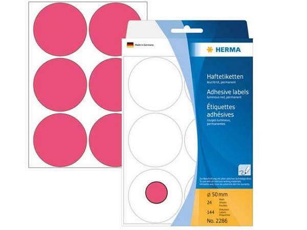 Etiketten Herma Büropackung, Farbpunkte, neonrot, Ø50mm