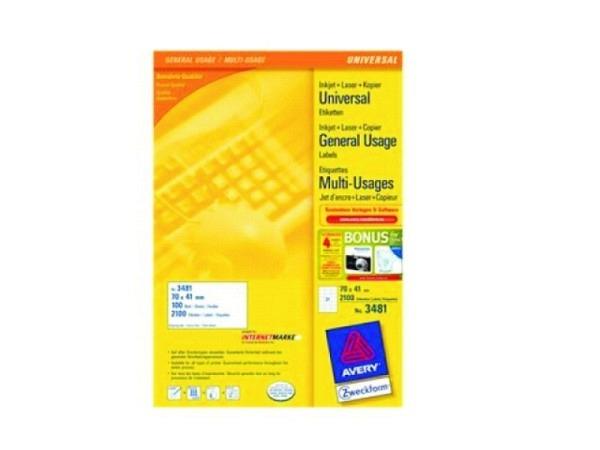 Etiketten Zweckform 41x70mm, weiss, Orgiginalnummer 3481
