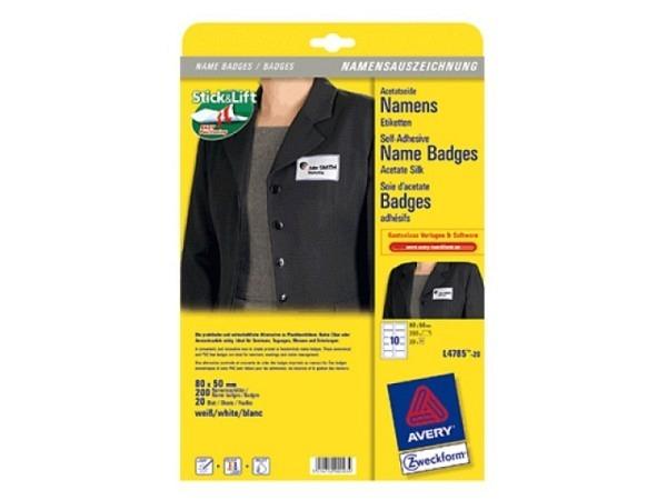 Etiketten Zweckform Namensetiketten L4787-20 50x80mm 1 Pack