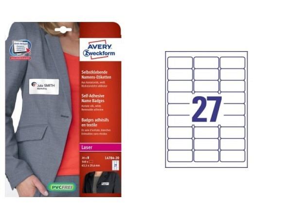 Etiketten Zweckform Namensetiketten L4784-20 29,6x63,5mm