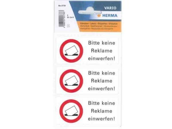 """Hinweisetiketten Herma wetterfest, """"Bitte keine Werbung"""""""