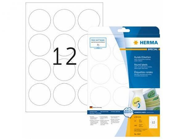 Etiketten Herma Movables Special Sonderformen A4 Ø60mm weiss