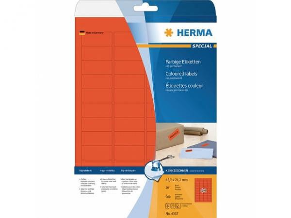 Etiketten Herma Special A4 45,7x21,2mm rot