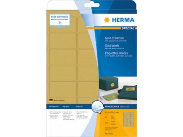 Etiketten Herma Etiketten Goldfolie A4, 38,1x63,5mm, gold