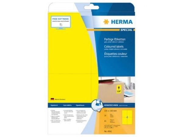Etiketten Herma Special Farbige Etiketten A4, ablösbar, 105x148mm, gelb