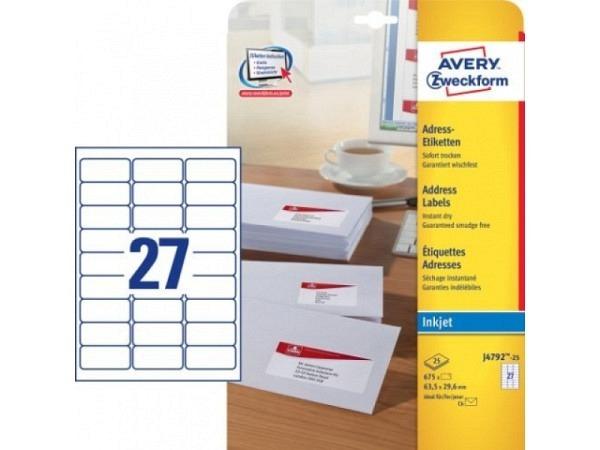 Etiketten Zweckform 29,6x63,5 weiss, Originalnr j4792-25, A4
