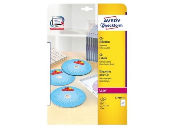 Etiketten Zweckform Ø117mm, weiss, Originalnummer L7760-25, A4, permanent, CD-Etikettenm