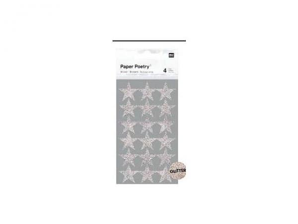 Aufkleber PaperPoetry Sterne Glitter silber M