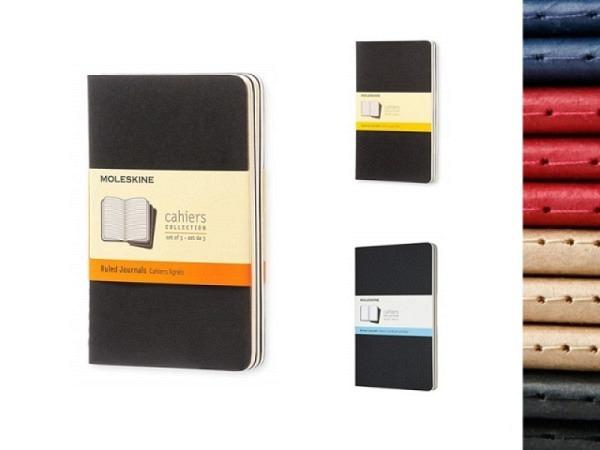 Notizheft Moleskine Cahier Pocket A6 myrtengrün liniert, 3 Büchlein