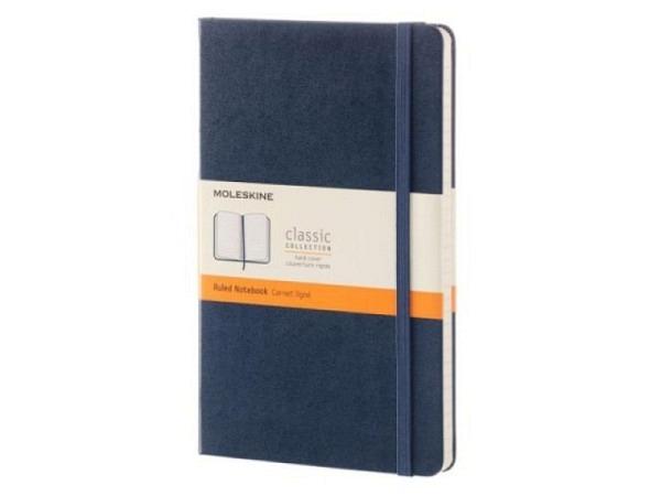 Notizbuch Moleskine L A5 liniert mit festem Einband saphir blau, mac..