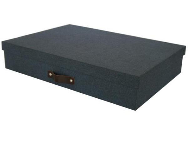 Schachtel Bigso Box Aufbewahrungsbox Leinenbezug Sverker dunkelblau A3