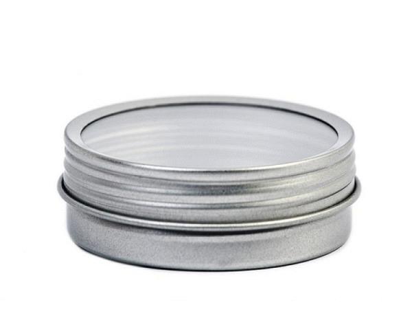 Dose Blech rund 65mm Durchmesser mit Sichtfenster