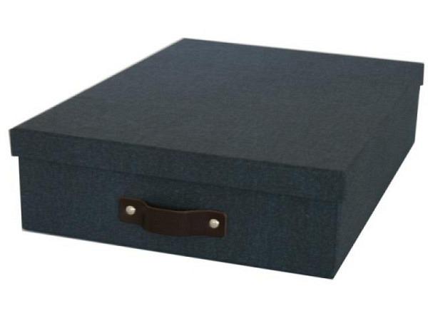 Schachtel Bigso Box Aufbewahrungsbox Leinenbezug Oskar dunkelblau A4