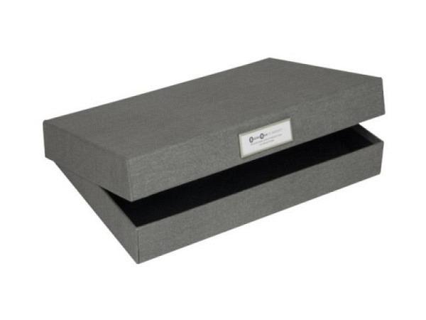 Schachtel Bigso Box Aufbewahrungsbox Leinenbezug Henry dunkelblau A4