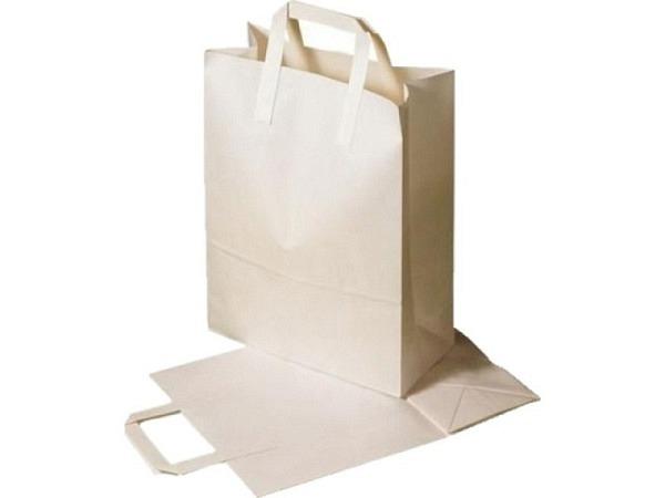 Tragtasche Papier weiss 22x29x10cm aus Kraftpapier 80g/qm