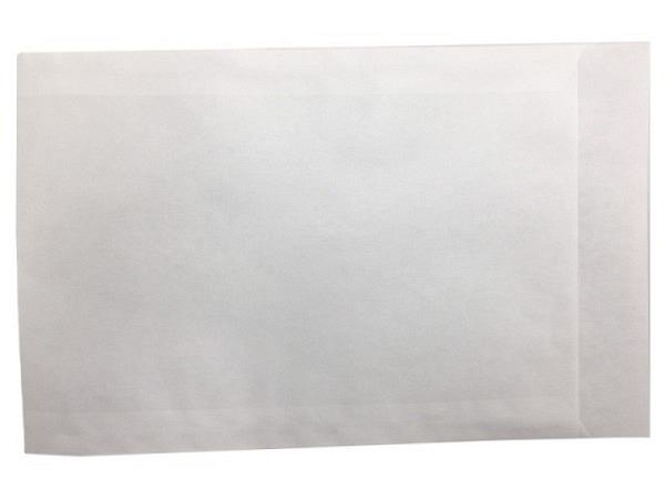 Flachbeutel Kraftpapier weiss 11,5x16cm, 50gr mit Lasche 2cm