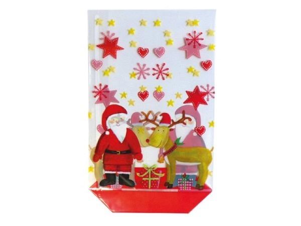 Kreuzbodenbeutel Santa 11,5x19cm Weihnachtsmann und Rentier