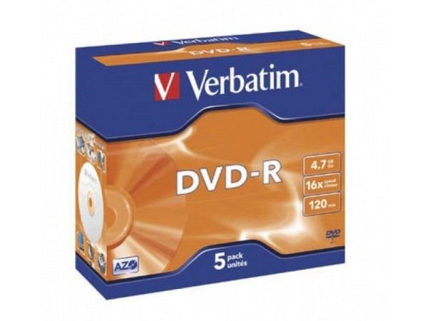 DVD Rohling Verbatim Jewel DVD-R 4,7GB, 5Stk.