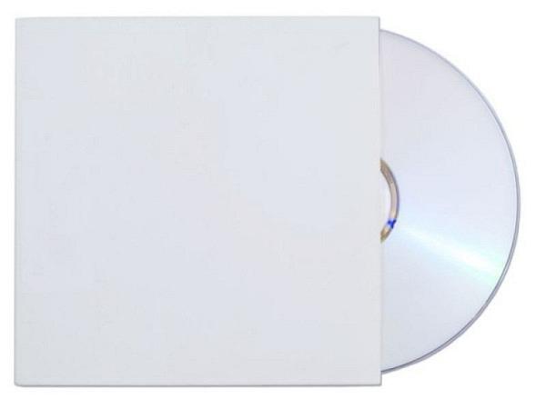 CD Hülle aus festem Karton weiss für 1 CD, eine Seite offen