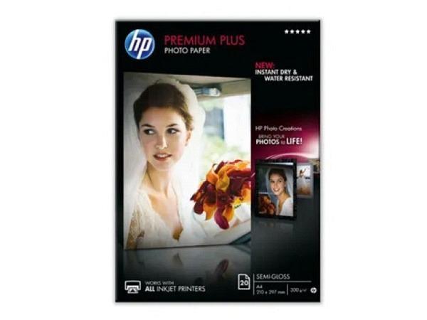 Papier HP Fotopapier Premium Plus seidenmatt A4 20Blatt 300g/qm, CR673A, ersetzt C6951A, für Inkjet
