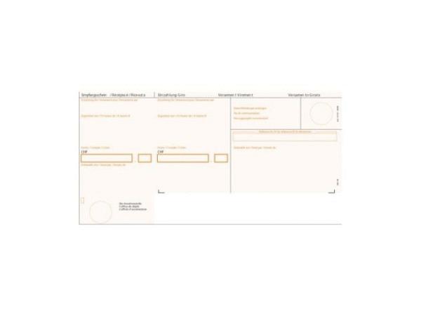 Einzahlungsscheine Simplex orange gerahmt A4 90g/qm