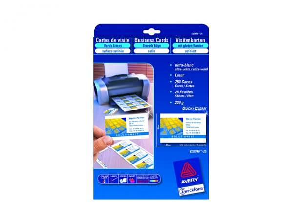 Visitenkarten Zweckform schnittgestanzt 85x54mm auf A4 220g