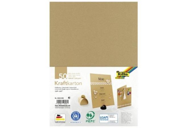 Papier Folia Kraftkarton braun 230g/qm 50 Blatt A4