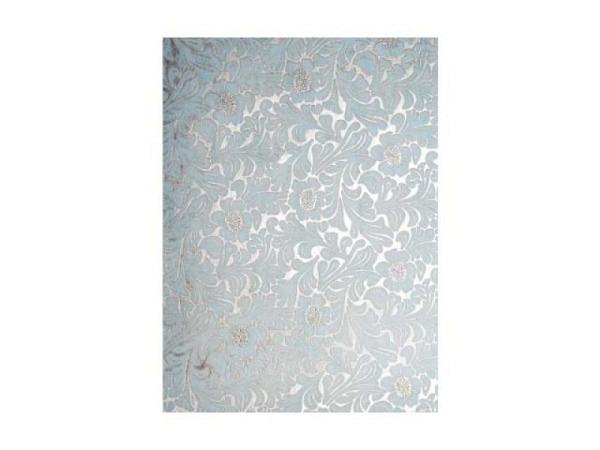 Japanpapier Artoz A4 Damastblumen silber-türkis halbtransp