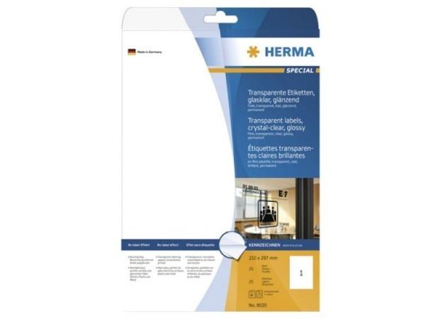 Folie Herma A4 transparent glanz, 25 Bogen