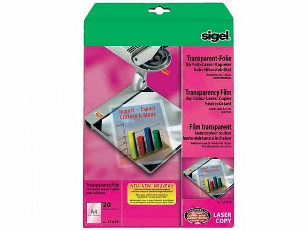 Folie Sigel transparent Laserdrucker 20Stk A4 210x297 125my