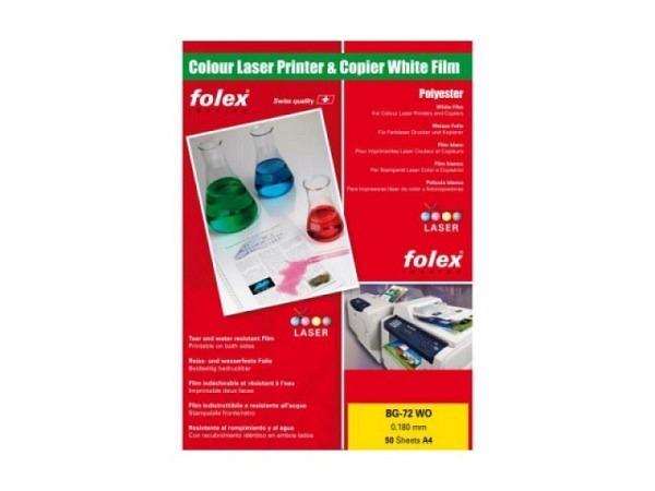 Folie Folex A4 BG-72WO weiss glänzend für Farblaser 0,18mm