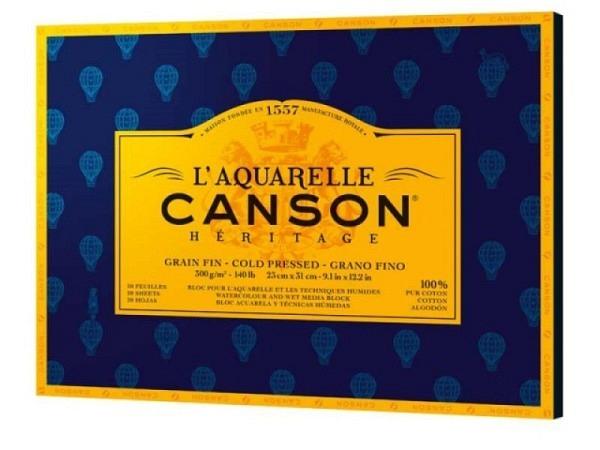 Aquarellblock Canson Héritage 23x31cm Feinkorn