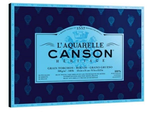 Aquarellblock Canson Héritage 23x31cm Grobkorn