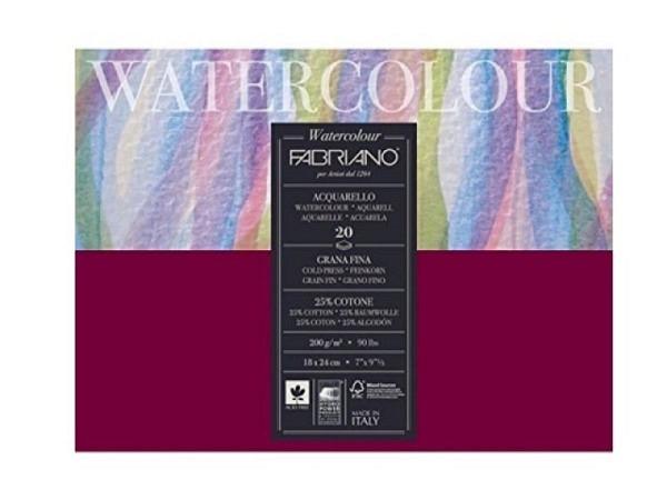 Aquarellblock Fabriano Watercolour Aquarello rundum geleimt 24x32cm